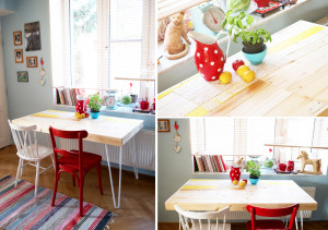 Stůl z palet a použitého dřeva